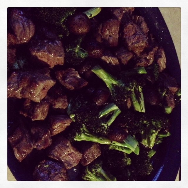 FLP grilled beef, broccoli and mushrooms
